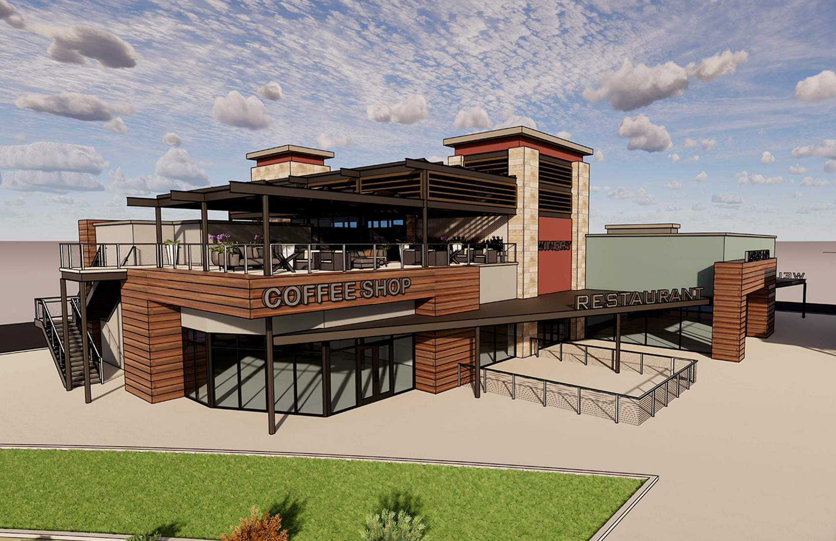 Cannon Beach Coffee Shop and Restaurant Plaza Rendering