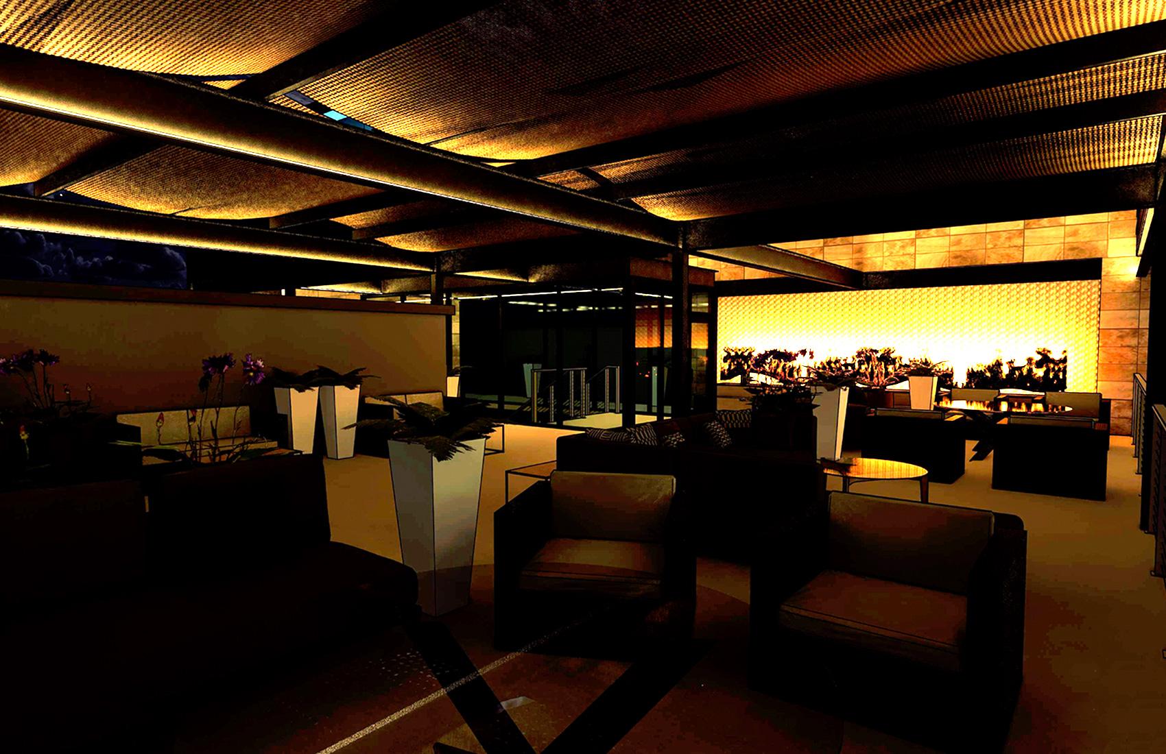 Cannon Beach Restaurant Deck Night Rendering