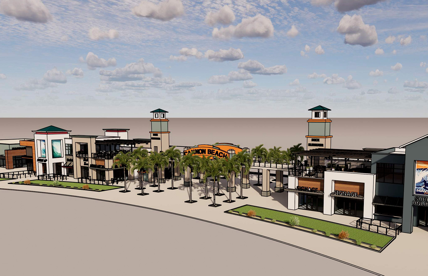 Cannon Beach Retail Row Entrance Rendering