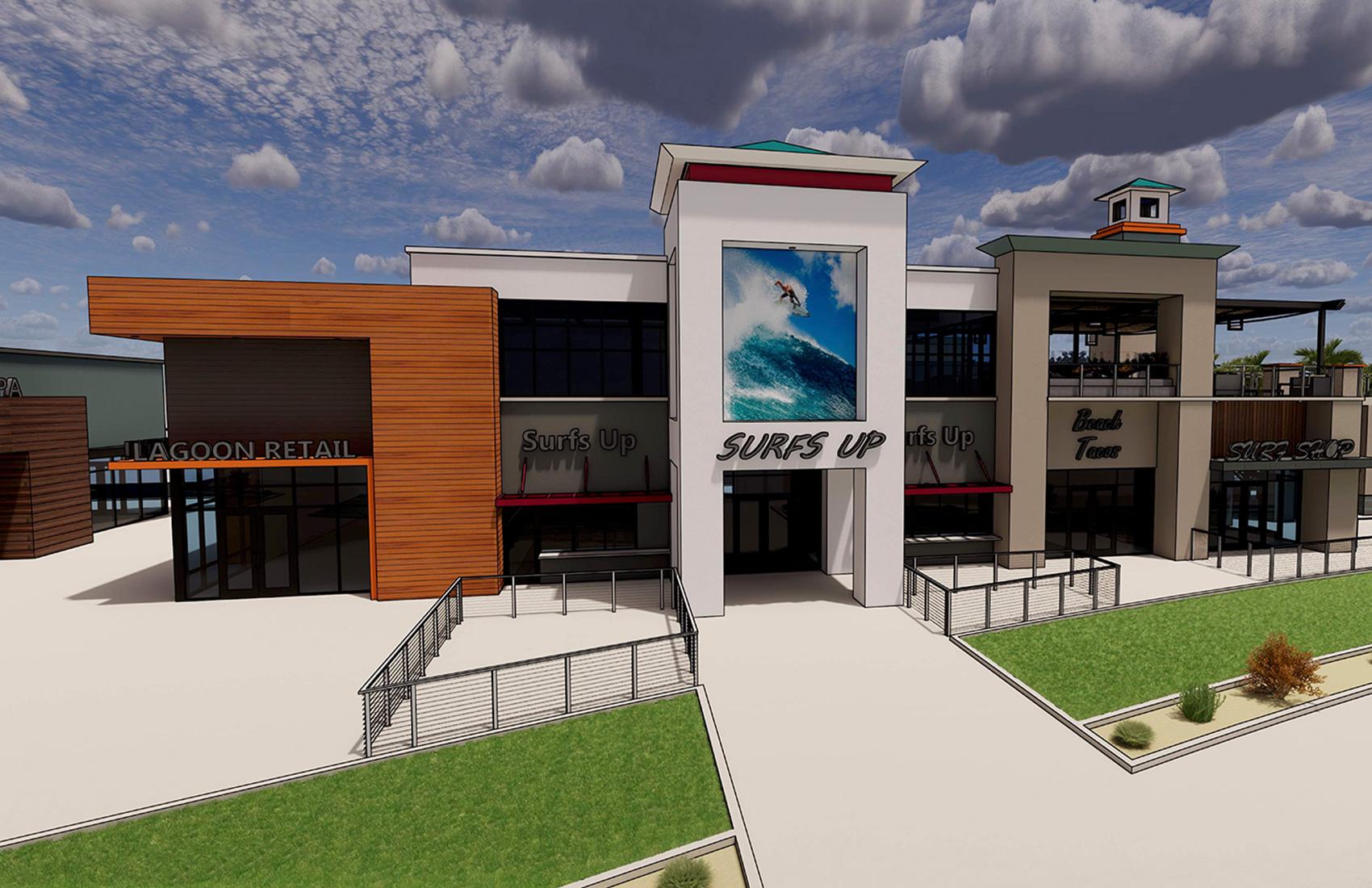 Cannon Beach Surf Shop Retail Entrance Rendering