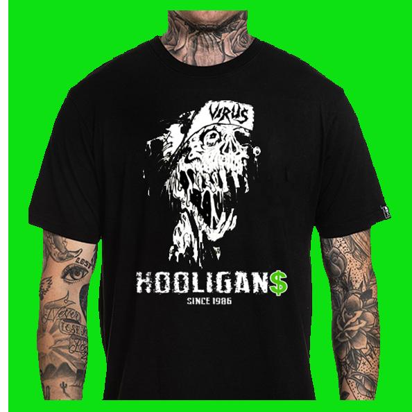 VIRUS UK Thrash Skater Skull Logo T Shirt
