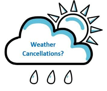 Weather updates about cancellation of soccer practice.