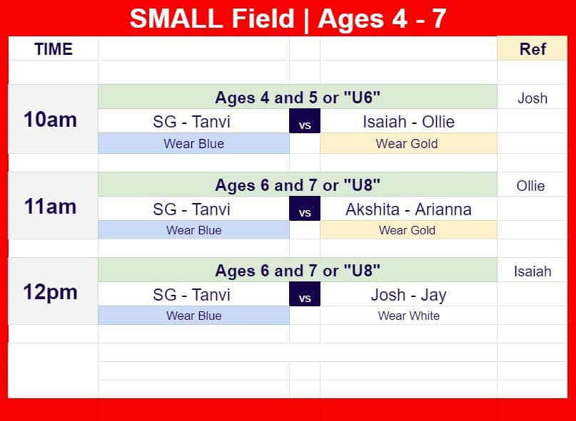 Soccer Schedule for Ages for U8