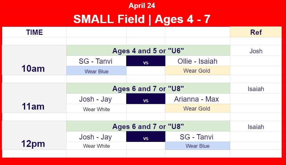 Hope Soccer Game Schedule for Ages 4 - 7.