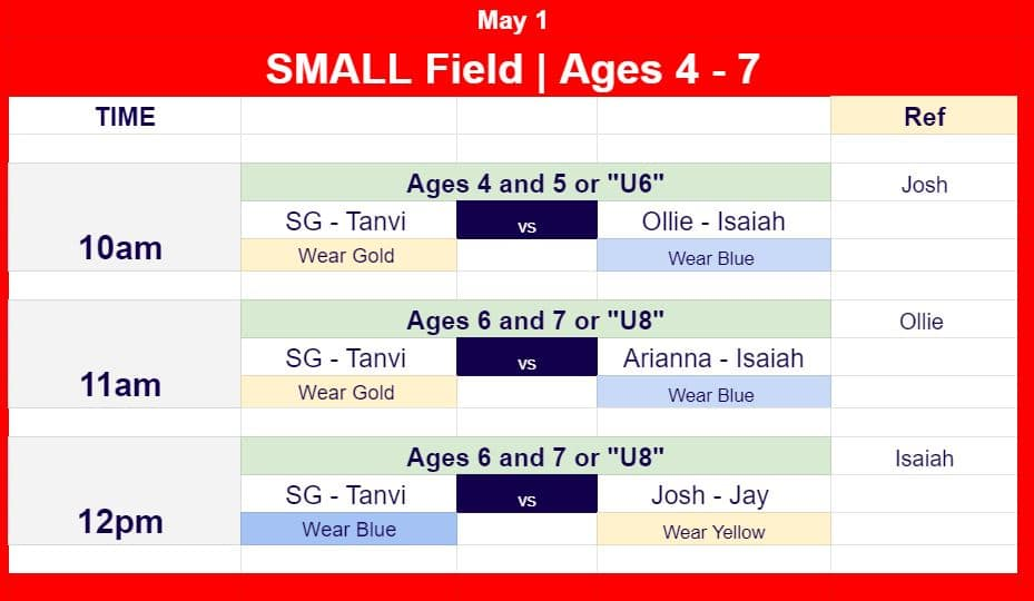 May 1 Game Schedules for ages 4 to 7.