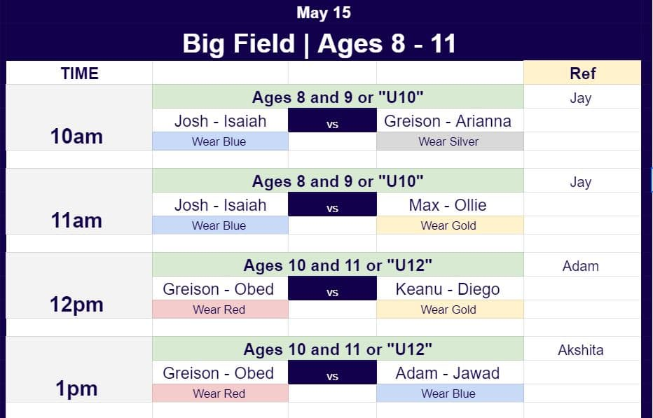 Hope Soccer Game Schedules for ages 8 to 12 for May 15.