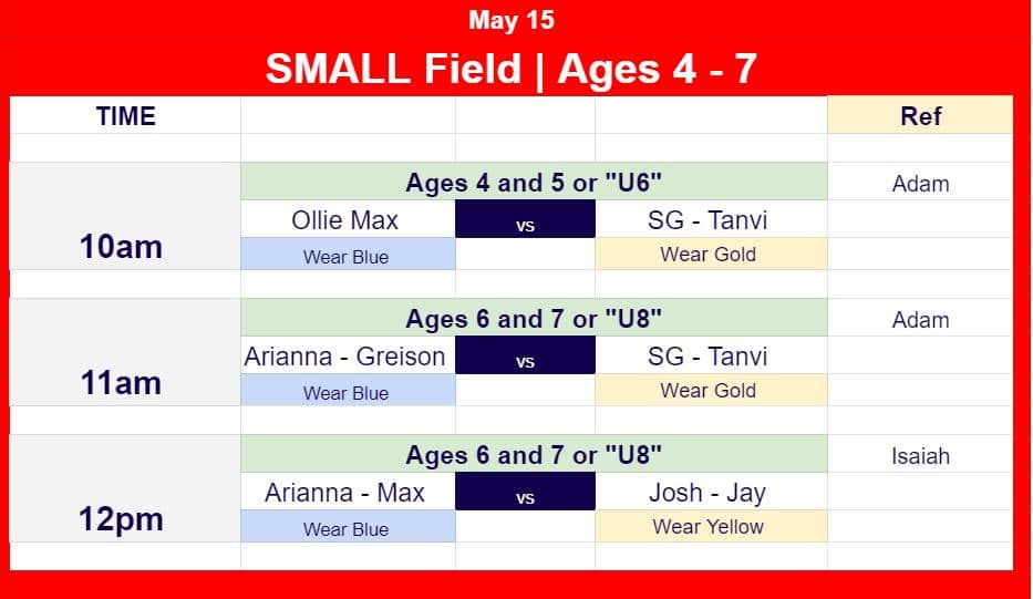 Hope Soccer Game Schedule for May 15 for ages 3 to 7.