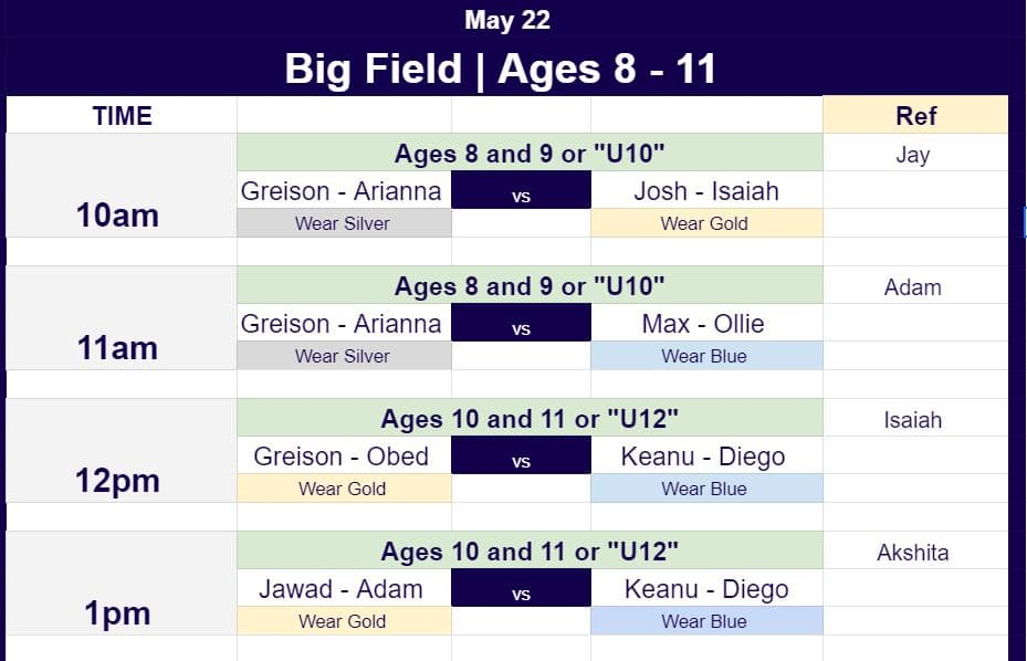 May 22 game schedule for Hope Soccer Ministries U12 and U10 teams.