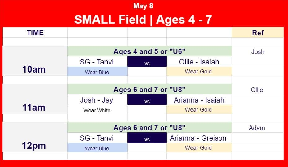 Hope Soccer Ministries Game schedule for May 8 for ages 3 to 7.