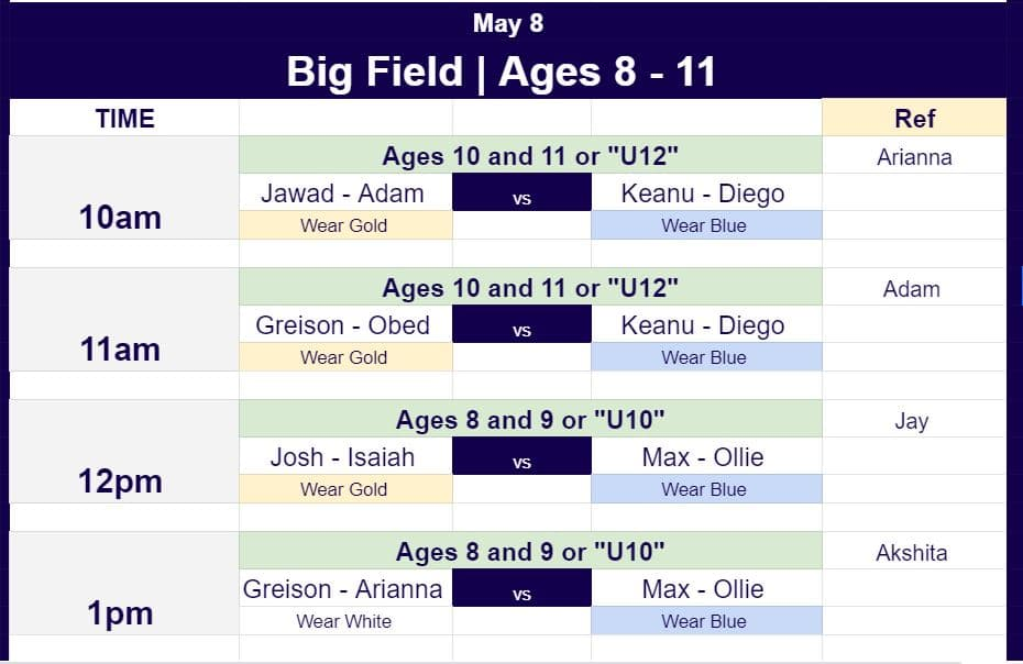 Hope Soccer Ministries Game schedule for May 8 for ages 8 to 12.