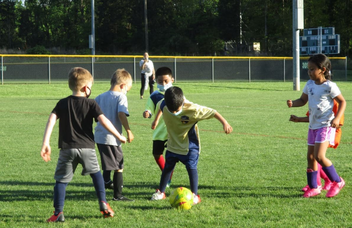 Hope Soccer's youngest team during practice.