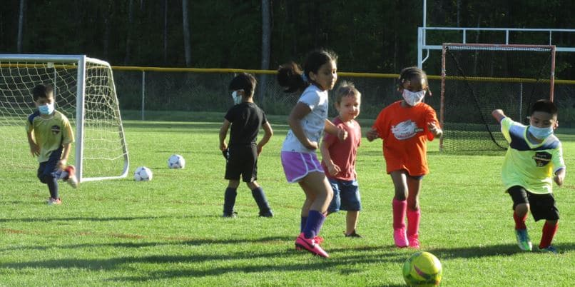 Soccer practice for ages 4 thru 6.