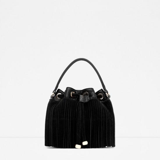 Zara Fringed Bucket Bag with Long Strap