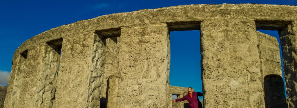 My beloved Lisa inside Maryhill's Stonehenge