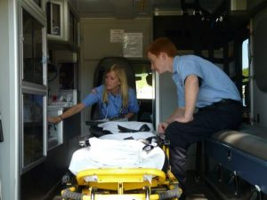 EMS workers in an ambulance