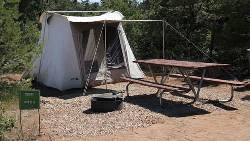 Canvas tent at campground near Zion National Park
