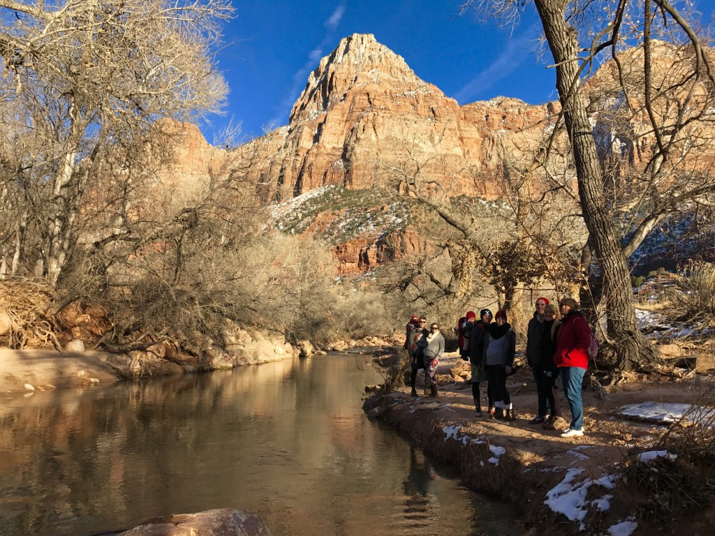 Winter hiking in Zion National Park
