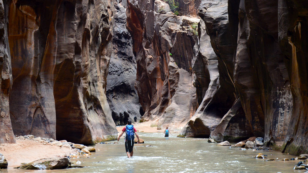 The Narrows slot canyon in Zion National Park