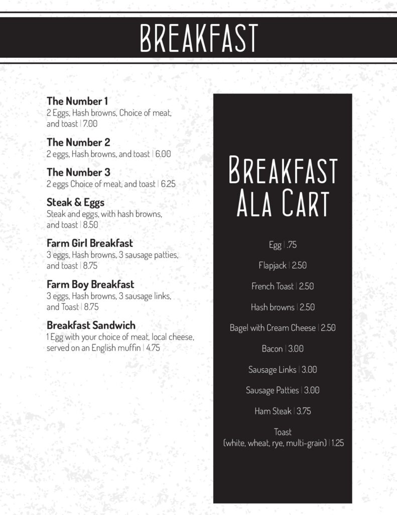 Old 61 Diner Breakfast Menu