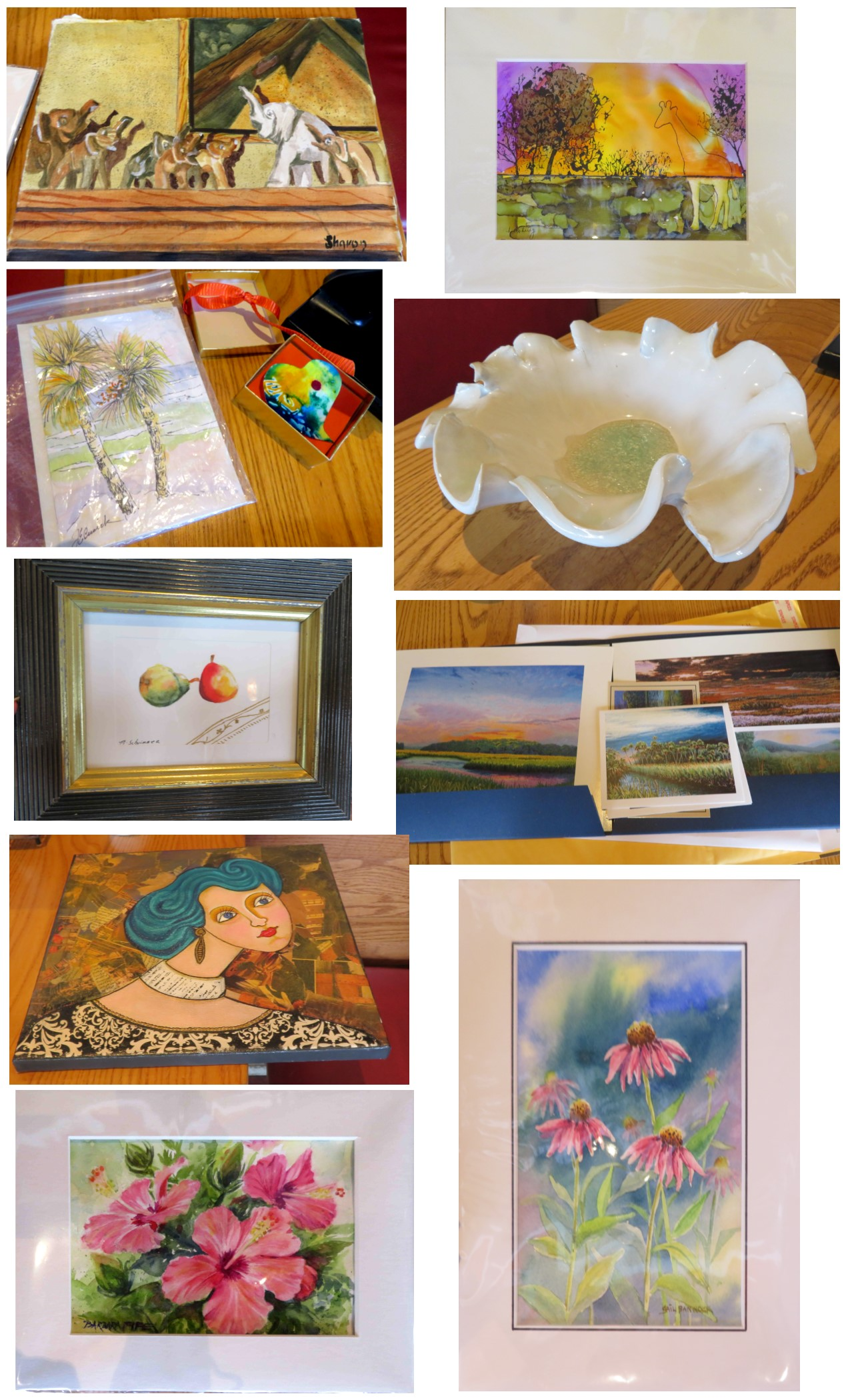 Close-ups of Artworks for Art Exchange at the OAG Luncheon May 2019