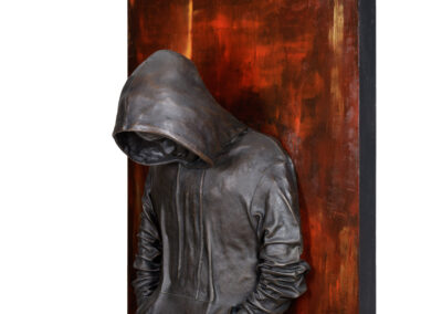 "Assailable, 2020, Oil on Canvas, Bronze, 40""h x 30""w x 12""d"