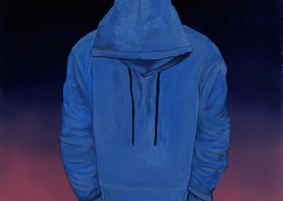 "Blue Hoodie, 2021, Oil and Acrylic on Canvas, 40""h x 30""w"