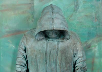 "Feeling Verdigris, 2021, Oil on canvas, bronze. 40""h x 30""w x 12""d"