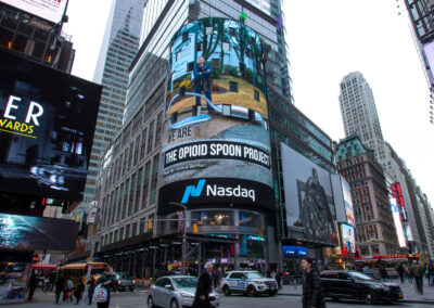 'Rhodes Spoon' - Image of Action on NasDaq Jumbotron