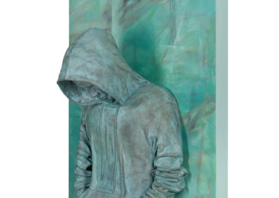 "H1200_70PC_Feeling Verdigris, 2021, Oil on canvas, bronze. 40""h x 30""w x 12""dWEB_HiRes-0032"