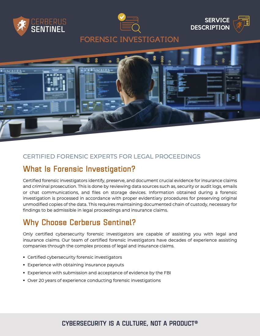 Forensic Investigation – Service Overview