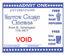 Narrow Gauge Cinemas gift certificate for a movie, small popcorn and soda.