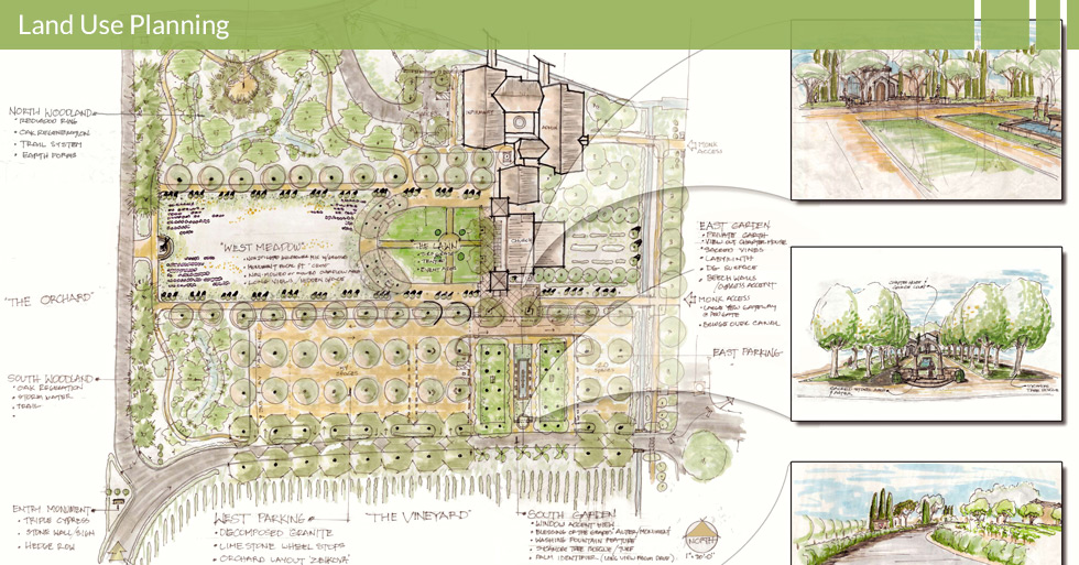 Melton Design Group, a landscape architecture firm, designed the Abby of New Clairvaux in Vina, CA.