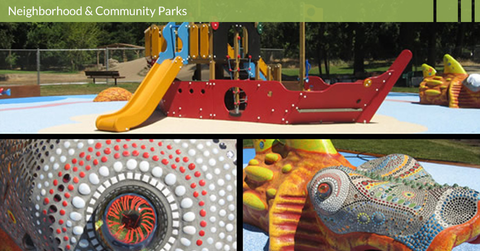 Melton Design Group designed Caper Acres in Chico, CA to represent the artistic flare of Bidwell Park.  Unique play structures, natural play areas, tunnels, swing sets, slides, designated birthday party areas all can be found at Caper Acres.