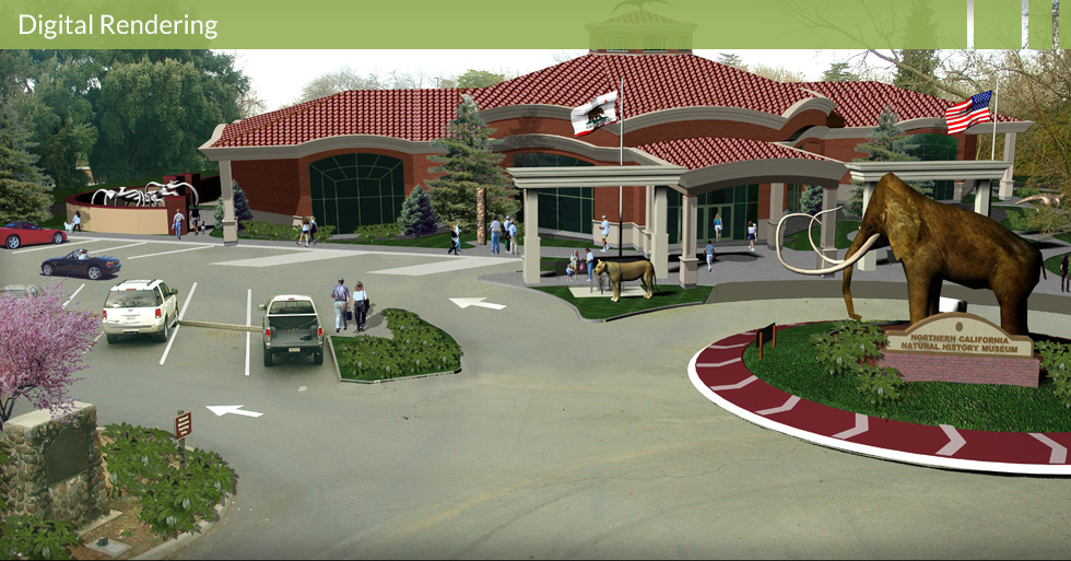 Melton Design Group, a landscape architecture firm, designed the Natural History Museum in Chico, CA. An elephant statue surrounded by a grassy area greets you as you drive in. A brick building is complimented by ceiling to floor windows, tiled roofing and cream-colored pillars.