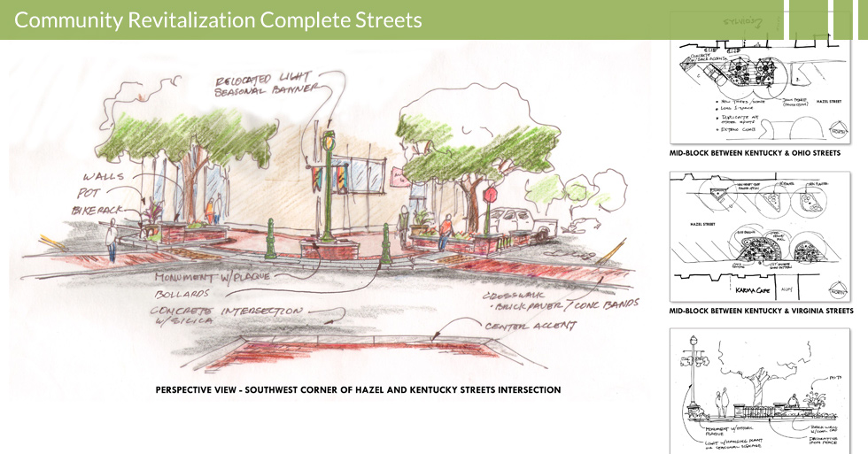 Melton Design Group, a landscape architecture firm, designed Street Modernization and Bulbouts in Gridley, CA. Brick paved walkways, a center accent, potted plants, bike racks, a concrete intersection with silicia and a center accent complete the redesign.