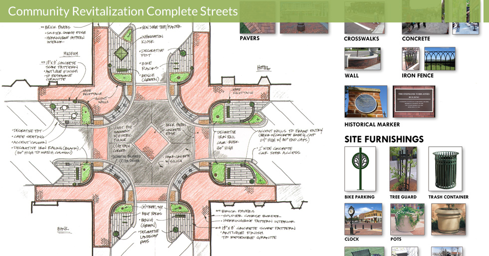 Melton Design Group, a landscape architecture firm, designed the Intersection Modernization and Bulbouts in Gridley, CA. Complete with brick walls and crosswalks, lamposts, iron fences, a center clock, historical markers, bike parking, tree protectors and more.