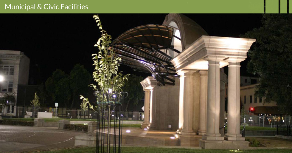 Melton Design Group, a landscape architecture firm, designed the City Plaza in Chico, CA. The center of Chico downtown events in Chico are held in this cemented area with raised grassy areas. Water shoots up from the center or the plaza as little kids run through it.