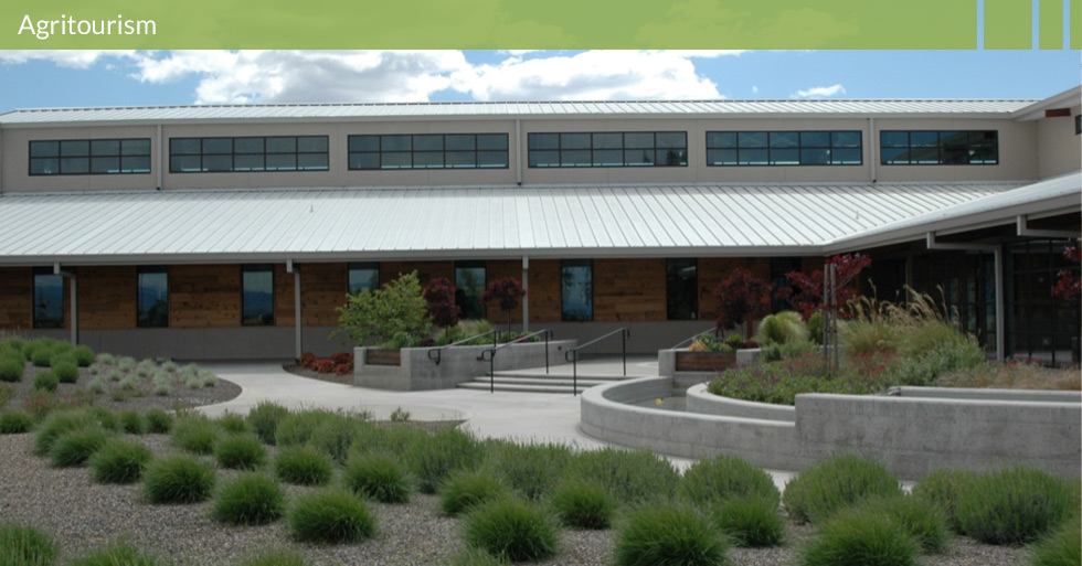 Melton Design Group, landscape architecture firm designed Lundberg Farms in Richvale, CA. Featuring a modern design, water features, event center, and native plants to enhance the corporate facility of their international rice product company.