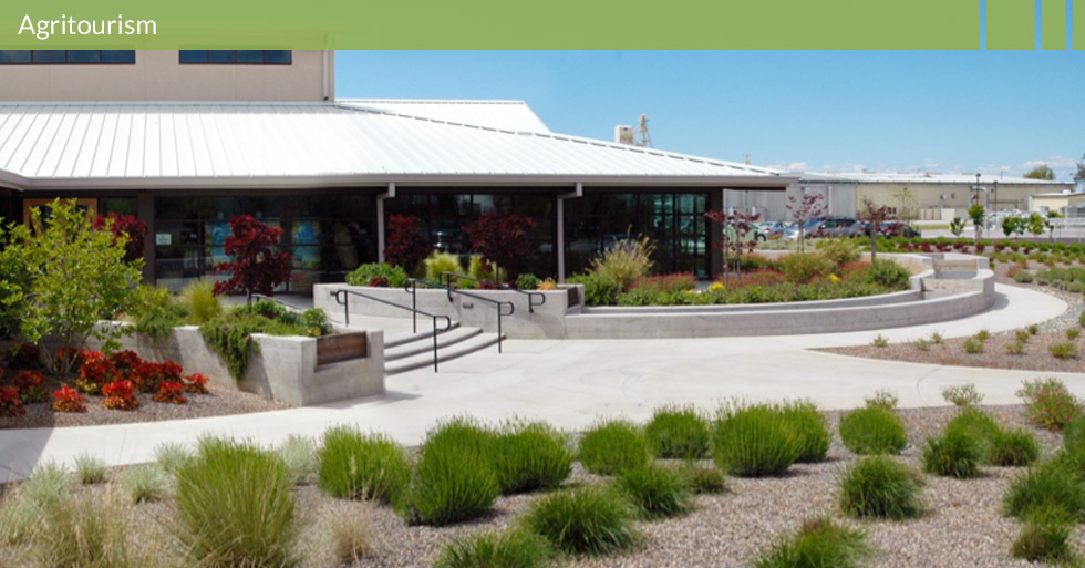 Melton Design Group designed Lundberg Farms in Richvale, CA. Their facility offers a sustainable design with a trough like water feature in their entry and sustainable plantings. This multi-use venue offers events along their natural surroundings with a modern, organic design.