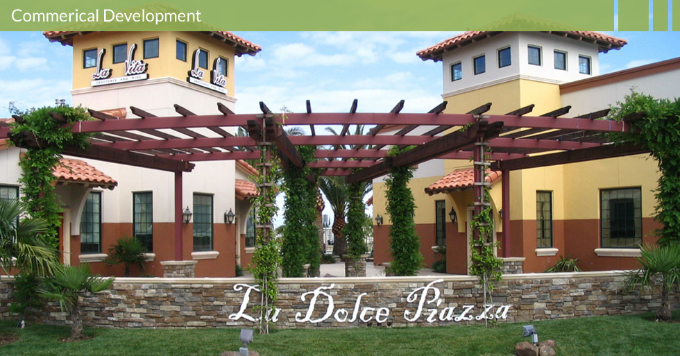Melton Design Group designed La Docle Piazza in Chico, CA.  An Italian inspired retail center features water fountains, outdoor walking trellis, unique plantings and ample parking.
