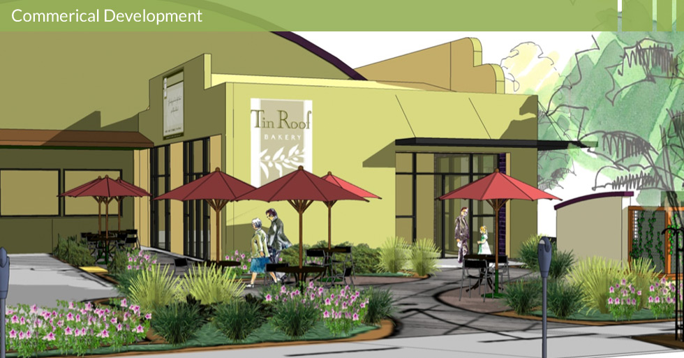 """Melton Design Group designed the corner of 7th and Broadway in Chico, CA to upgrade an area now known as """"SOPA,"""" an artisy and booming area in Chico. Tin Roof Bakery anchors the corner with an outdoor seating in a warehouse style building. This retail center contains five separate retail spaces."""