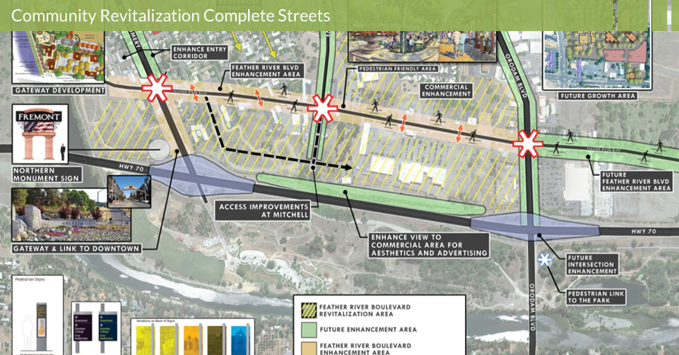 Melton Design Group designed the revitalization of Feather River Blvd. in Oroville, CA. The revitalization project consisted of the gateway link to downtown, access improvements, enhanced view to commercial area for aesthetics and advertising, pedestrian friendly areas, wayfinding monuments, and future growth areas.