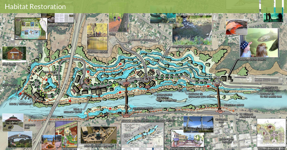Melton Design Group designed the Feather River Salmon Preservior in Oroville, CA.  Featuring interpretative panels, pedestrian bridges and trails, spawning creeks, salmon creek exhibits, and fish viewing chambers.