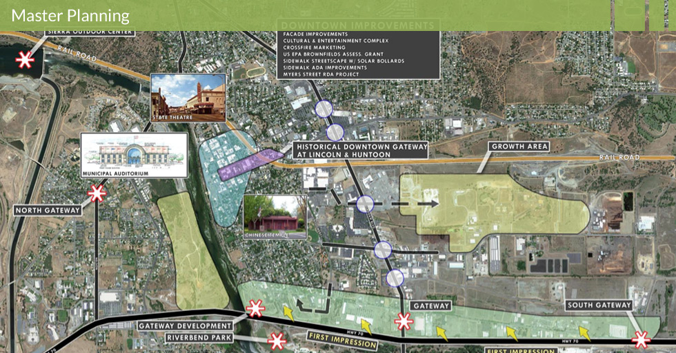 Melton Design Group master planned the Feather River Blvd. in Oroville, CA. Featuring a historical downtown gateway at Lincoln and Huntoon streets, façade improvements, a cultural and entertaining complex, sidewalk streetscapes with solar bollards. This master plan also featured the Feather River revitalization project as well as the redevelopment of Meyers Street.