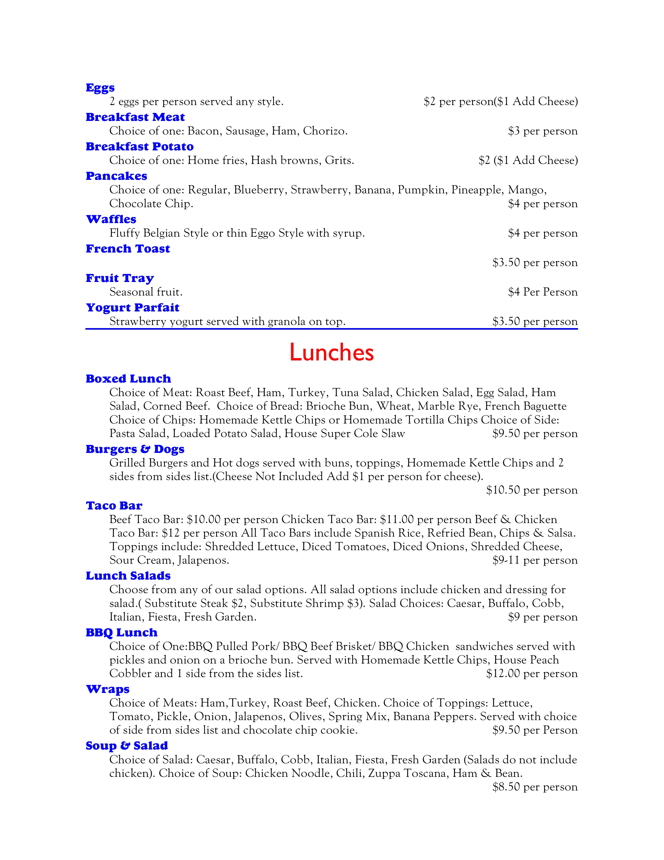 Banquet Breakfast, Lunches 3