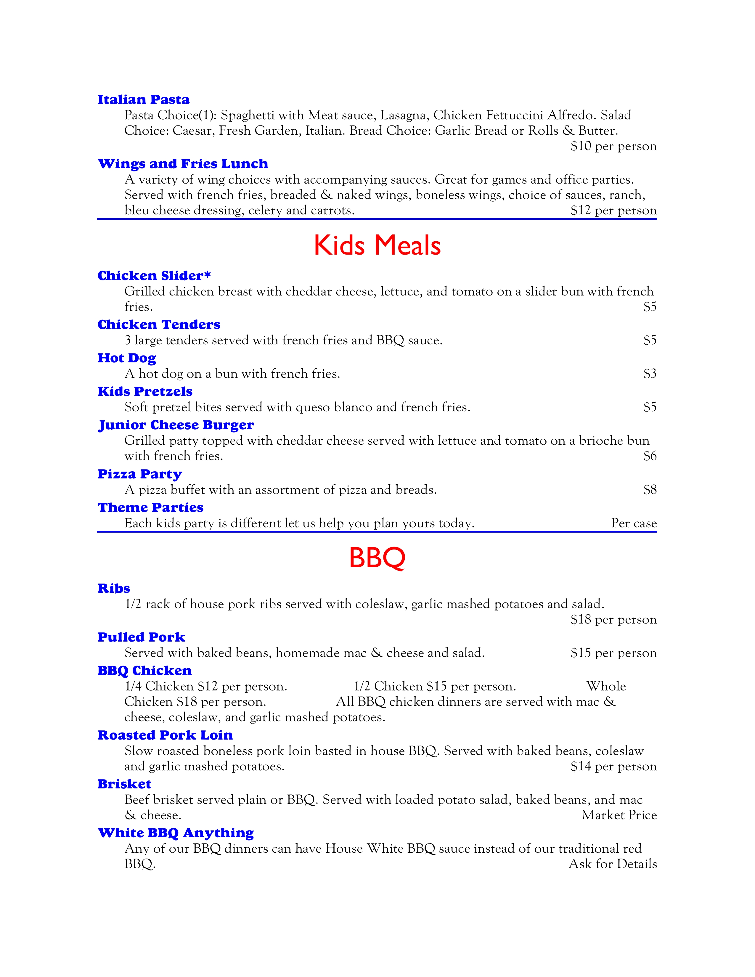 Banquet Lunches, Keds Meals, BBQ 4