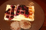 Homemade Waffles with Blueberry Sauce