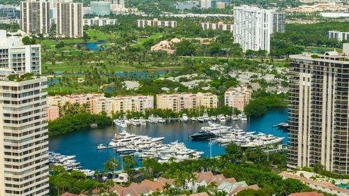 Aerial image Aventura Florida marina and highrise condos
