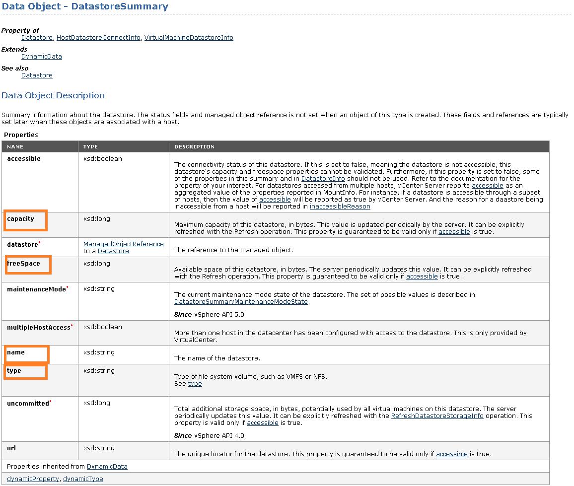 Datastore Summary Data object description