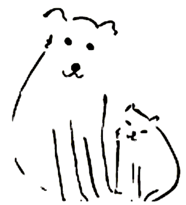 Cartoon dog and cat